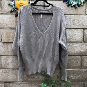 Free People Pullover Tan V-Neck Ribbed Sweater